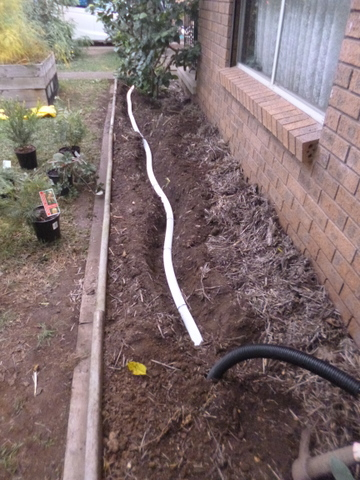 Buried pipe irrigation installed