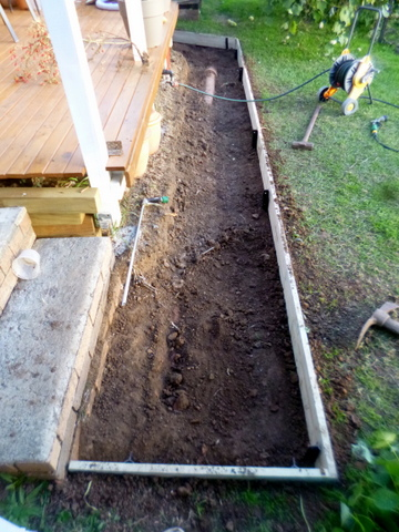 Dug out, with timber edging installed